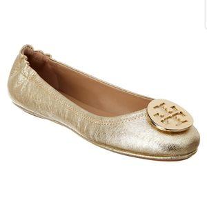 Tory Burch Minnie Gold Ballet Flats- size 9.5